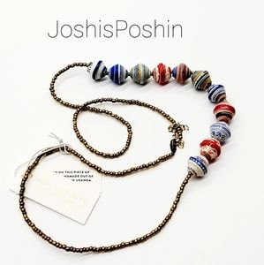 Handmade marble shaped paper beads necklace